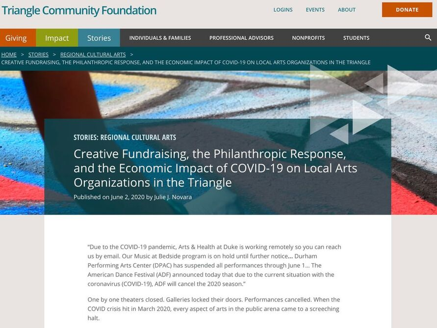 Article Highlighting the Impact of COVID-19 on the Arts and Artists. Local Nonprofits Respond.